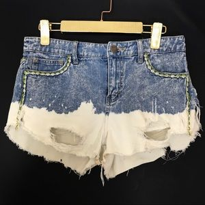 Free People Distressed Bleach Cutoff Dipped Shorts